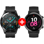 Pachet PROMO HUAWEI: Watch GT2, 46mm, Matte Black + Watch GT2 Diana B19, 42mm, Matte Black